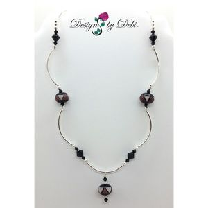 Pink & Wine Glass & Crystal Triangles Necklace